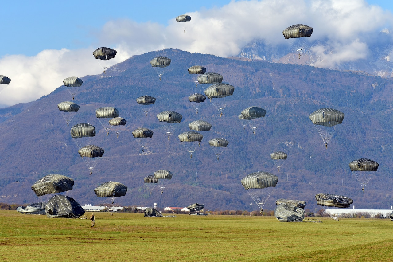 Nearly 25 paratroopers descend onto a grassy plain.