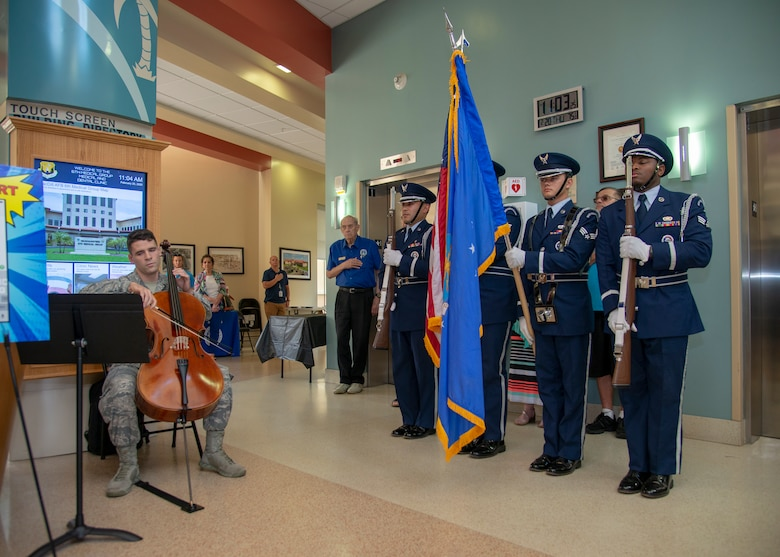 Airman 1st Class Jared N. Devine, a 6th Health Care Operations Squadron aerial medical technician, performs the national anthem on a cello during the annual Retiree Appreciation Day event, Feb. 22, 2020, at MacDill Air Force Base, Fla.