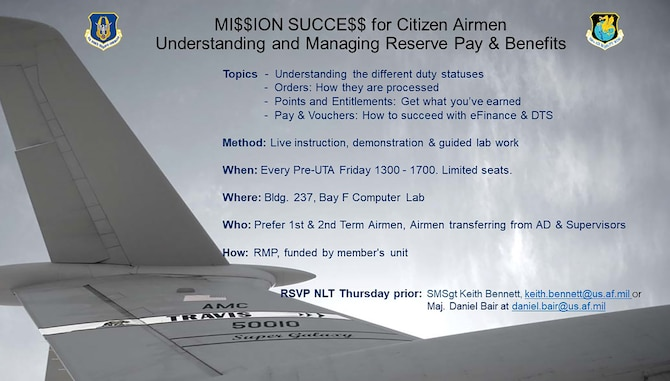 MI$$ION SUCCE$$ for Citizen Airmen for target audience of newly gained Airmen from Active Duty and 1st and 2nd Term Airmen, and supervisors.  #ReserveReady