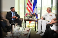 Honduran Minister of Defense, Fredy Diaz, meets with the commander of U.S. Southern Command, U.S. Navy Adm. Craig Faller.