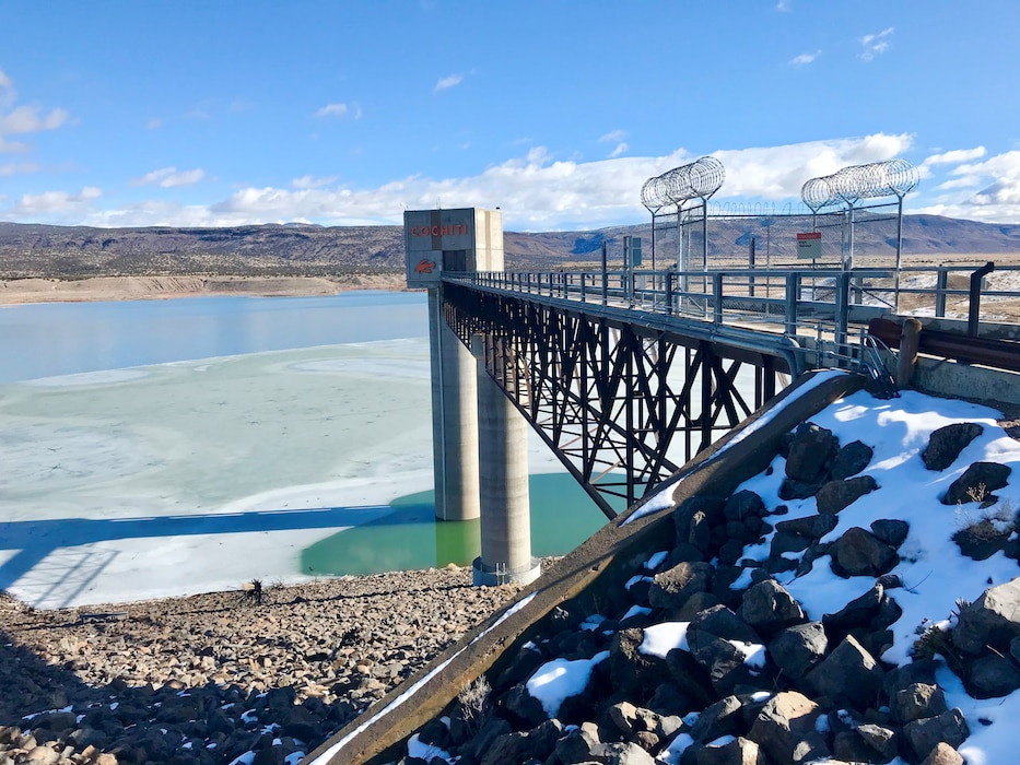 Looking north at the Cochiti Lake tower and frozen lake, Jan. 22, 2020. Photo by Lucia Pillera.