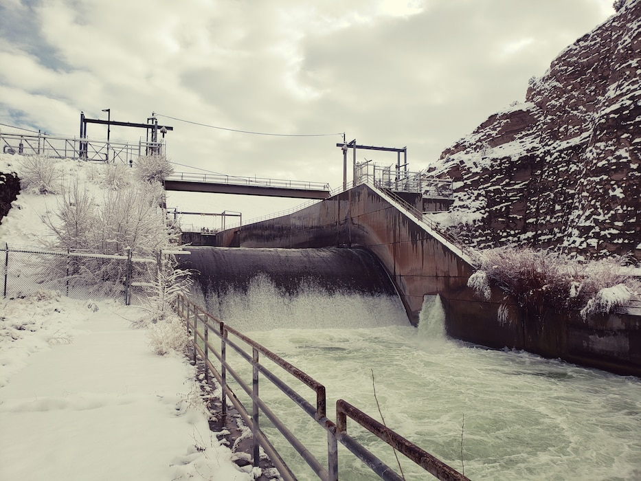 Cochiti Dam's outlet works after a snowfall, Feb. 11, 2020. Photo by Trevor Wallin.