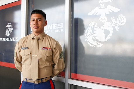 U.S. Marine Corps Sgt. Thomas Zandate, a recruiter with Recruiting Substation Pomona, Recruiting Station Riverside, 12th Marine Corps District, stands outside his office in Pomona, Calif., Sept. 21, 2020. The day before, Zandate performed CPR to help save a man's life outside in the parking lot of RSS Pomona. (U.S. Marine Corps photo by Sgt. Juan Madrigal)