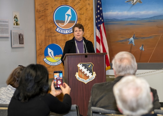 Dr. Eileen Bjorkman, Air Force Test Center Executive Director, speaks at special ceremony in honor of her $50,000 donation to the Flight Test Museum Foundation at Edwards Air Force Base, California, Feb. 25. Bjorkman's donation to the Flight Test Museum Foundation will be used to sponsor the RF-4C (#004) and help directly fund construction of the new Flight Test Museum being built outside the West Gate at Edwards Air Force Base. (Air Force photo by Giancarlo Casem)