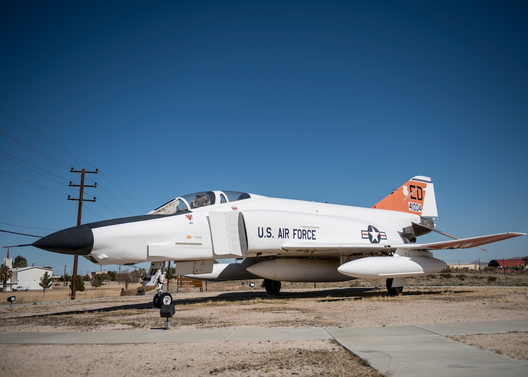 An RF-4C (#004) sits on display at Edwards Air Force Base, California, Feb. 25. Dr. Eileen Bjorkman, Air Force Test Center Executive Director, flew in this exact aircraft when she was a flight test engineer at Edwards. (Air Force photo by Giancarlo Casem)