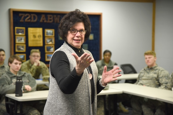 Pam Kloiber, founder of the Tinker Home Away From Home program, speaks to Airmen at the First Term Airman Center about joining the program Feb. 10. The program has grown substantially from its inception in 2013, serving a total of 758 Airmen and Sailors at Tinker. The program focuses on new Airmen and Sailors, pairing them with host families from the surrounding communities, which gives them a somewhat familiar place to go outside their dorms and the Tinker gates to relax or share a home-cooked meal and form bonds, friendships and lasting memories. (U.S. Air Force photo/Kelly White)