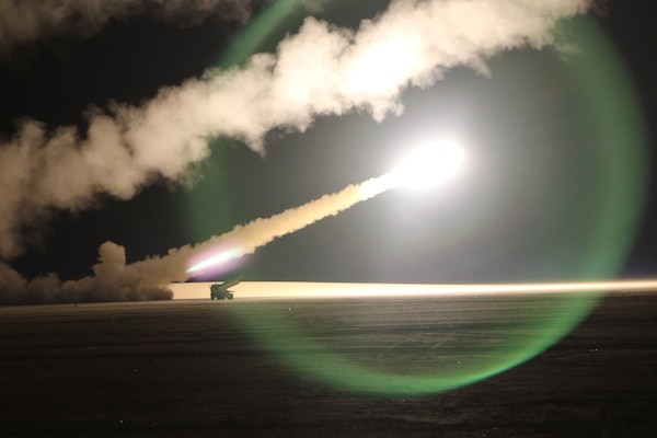 U.S. Soldiers assigned to the 115th Field Artillery Brigade fire rocket-propelled rounds from a truck during an exercise with Kuwait Land Forces at their Udairi Range, Monday, Feb. 10, 2020. The 115th Soldiers from the Wyoming-based brigade deployed to support Task Force Spartan, an exercise to strengthen defense relationships, builds partner capacity, and jointly deter regional aggression.