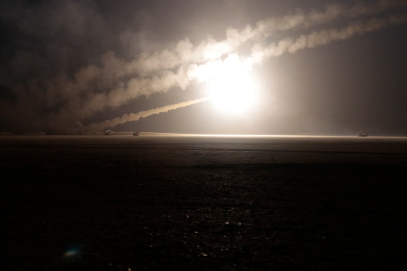 U.S. Soldiers assigned to the 115th Field Artillery Brigade fire rocket-propelled rounds from a truck during an exercise with Kuwait Land Forces at the Udairi Range in the Middle East, Sunday, Feb. 9, 2020. The 115th Soldiers from the Wyoming National Guard based unit deployed to support Task Force Spartan that strengthens defense relationships, builds partner capacity, and jointly deter regional aggression. U.S. Army photo by Master Sgt. Jeff Lowry, Task Force Spartan Public Affairs