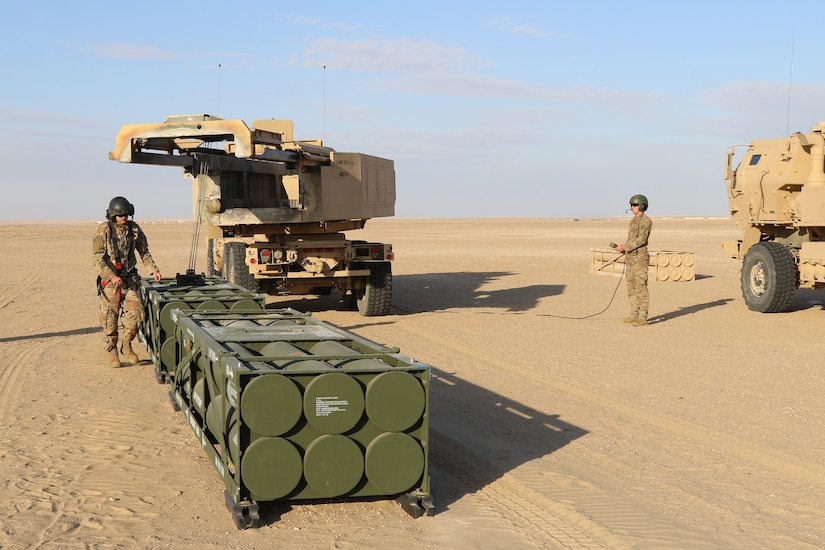 Wyoming National Guard Soldiers with the 115th Field Artillery Brigade load missiles during an exercise with Kuwait Land Forces at their Udairi Range, Monday, Feb. 10, 2020. The 115th Soldiers from the Wyoming-based unit deployed to support Task Force Spartan that strengthens defense relationships, builds partner capacity, and jointly deter regional aggression. U.S. Army photo by Master Jeff Lowry, Task Force Spartan Public Affairs