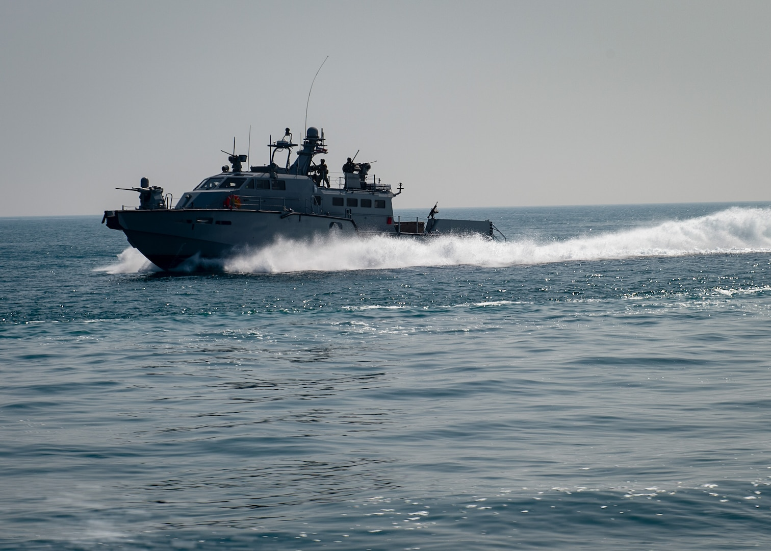 JUBAIL, Kingdom of Saudi Arabia 200223-N-JO908-1065 A Mark VI patrol boat attached to Commander, Task Force 56 participates in exercise Nautical Defender 20 in Jubail, Kingdom of Saudi Arabia Feb. 23. ND is a bilateral maritime exercise between the U.S. Navy and the Royal Saudi Naval Forces (RSNF) designed to build and sustain warfighting capabilities, support long term regional security and enhance military-to-military interoperability with the U.S. and Kingdom of Saudi Arabia. (U.S. Navy photo by Mass Communication Specialist 1st Class Kory Alsberry)