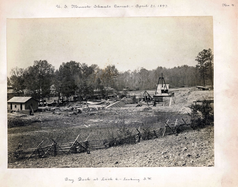 U.S. Army Corps of Engineers Nashville District Historical photo - Construction is underway at the dry dock at Lock No. 6 at Muscle Shoals Canal April 21, 1897.
