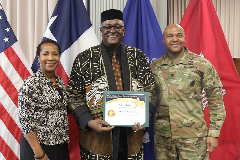 """The U. S. Army Corps of Engineers Galveston District celebrated African American Black History Month 20 Feb. at the Jadwin Building.  The guest speaker was Mr. Frank Jackson, Assistant Vice Chancellor for State Relations, Texas A&M University System, Prairie View A&M University. Jackson spoke about African American History from Ancient time to the present day. He informed the audience of the grandeur of the African civilizations prior to the slavery of Africans in the western hemisphere. His central theme was the oneness of the human family on the planet earth.   Jackson said, """"All civilizations have borrowed from one another. African history is world history. The reason for African history is to tell the whole story of humanity.""""  Black History Month originally started in 1915 fifty years after the emancipation by Carter G. Woodson who earned his bachelor's and master's degrees at the University of Chicago and his doctorate from Harvard.  W.E.B. DuBois and Dr. Woodson believed that early 20th century African Americans were not being taught enough about their own heritage and achievements that their ancestors had made to society.  He first announced what was back then called the national Negro History week in February 1926.  He chose the month of February to coincide with Abraham Lincoln and Frederick Douglass birthday.   In 1976, fifty years after the first Negro History Week the Association for the Study of African American History officially changed with the times to Black History Month. Every U.S. president since 1976 has officially issued that proclamation designating February as now days Black African American History Month.  By Dr. Rose M. Caballero, D.M., D.Min."""