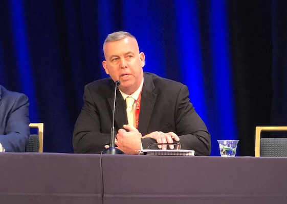 Defense Intelligence Agency's Defense Intelligence Officer for Cyber James Sullivan speaks on the Agency's cyber operations during a panel discussion at the 2020 RSA Conference public sector day in San Francisco, February 24.