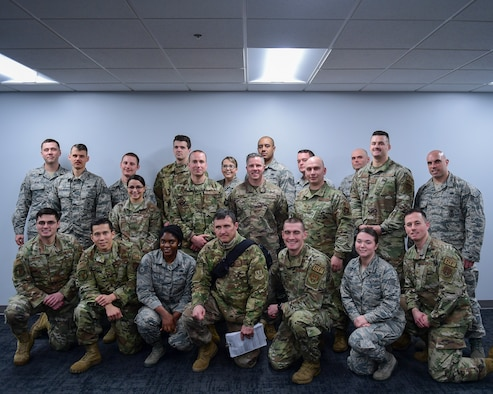 The graduating class of the 911th Airlift Wing NCO Leadership Development Course pose for a photo at the Pittsburgh International Airport Air Reserve Station, Pennsylvania, Feb. 7, 2020.