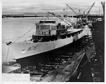 Louisiana - In this historical photograph taken Oct. 1, 1966, the U.S. Coast Guard Cutter Dallas can be seen being built in the Avondale Shipyards in Louisiana.  (U.S. Coast Guard photograph.)