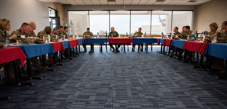 U.S. Air Force Gen. Mike Holmes, the commander of Air Combat Command (center), has lunch with 325th Fighter Wing leaders during a tour at Tyndall Air Force Base, Florida, Feb. 25, 2020. Gen. Holmes spoke with leadership about the future of ACC and how Tyndall fits into that vision. (U.S. Air Force photo by Staff Sgt. Magen M. Reeves)