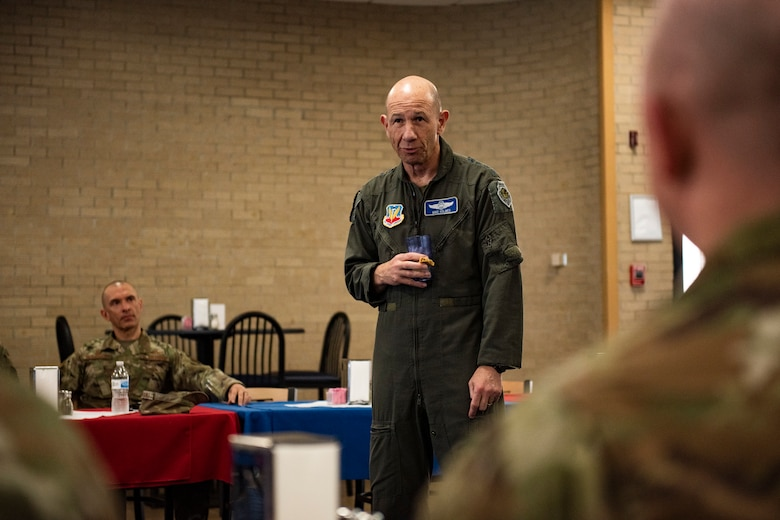 U.S. Air Force Gen. Mike Holmes, the commander of Air Combat Command, talks with 325th Fighter Wing leaders during a lunch break on his tour of Tyndall Air Force Base, Florida, Feb. 25, 2020. Holmes spoke with leadership about the future of ACC and how Tyndall fits into that vision. (U.S. Air Force photo by Staff Sgt. Magen M. Reeves)