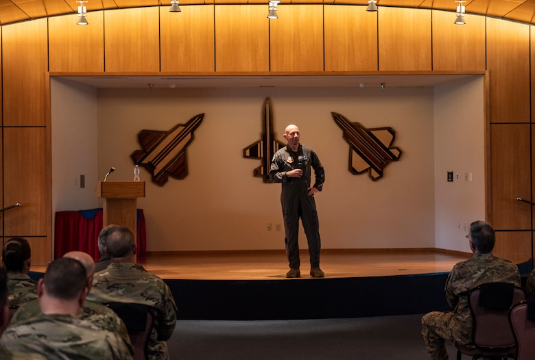 U.S. Air Force Gen. Mike Holmes, the commander of Air Combat Command, speaks at a town hall on Tyndall Air Force Base, Florida, Feb. 25, 2020. Holmes outlined his vision for the future of Tyndall and how the base's mission fits into ACC's priorities. (U.S. Air Force photo by Staff Sgt. Magen M. Reeves)