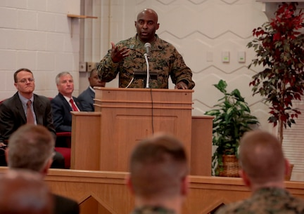 The Base Chapel aboard Marine Corps Logistics Base Albany was nearly filled to capacity as active-duty and civilian personnel, community leaders and others came together to observe Black History Month, Feb. 25.