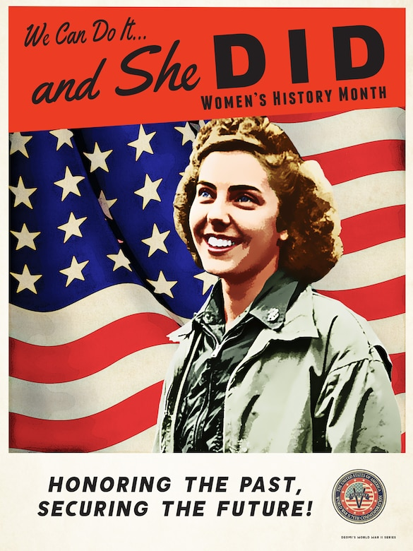 AFDW observes Women's History Month. This year, the Defense Department created a series of posters commemorating the 75th Anniversary of World War II. Each