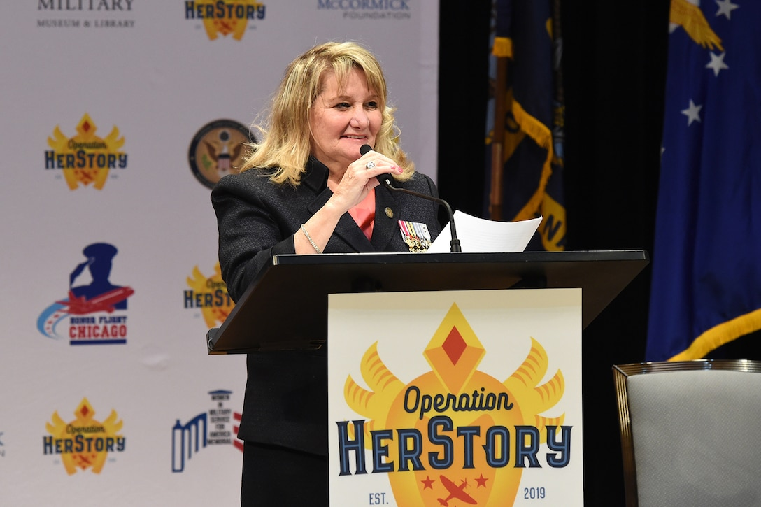Ginny Narsete, U.S. Air Force Veteran and the founder of Operation HerStory gives remarks during the Operation HerStory all-female Honor Flight news conference at Pritzker Military Library, in Chicago, February 25, 2020.