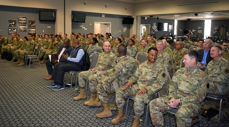 Members of Goodfellow attended the Black History Month event to celebrate history and heritage at the event center on Goodfellow Air Force Base, Texas, February 20, 2020. During the event, members of team Goodfellow came together to recognize the accomplishments of African American and black individuals highlighting military contributions. (U.S. Air Force photo by Airman 1st Class Ethan Sherwood)