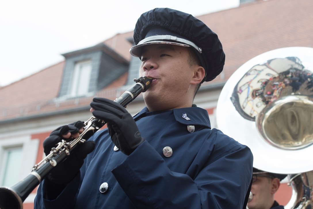USAFE Band member plays a clarinet.
