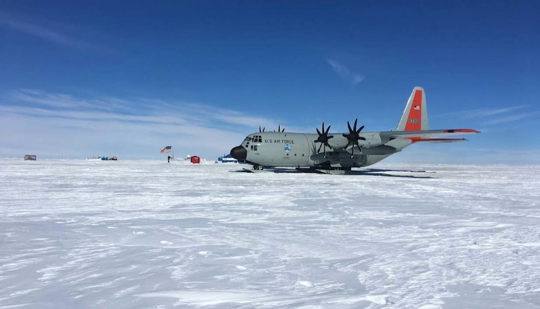 """An LC-130 """"Skibird,"""" operated by the New York Air National Guard's 109th Airlift Wing, parks on a """"skiway"""" snow runway on the Greenland Ice Cap during Exercise Polar Reach May 13, 2019. From February 20 to March 7, 2020, 109th Airmen will be participating in exercises Arctic Edge and Arctic Eagle in Alaska, showcasing the wing's ability to  sustain a ski landing area in the extreme cold weather of northern Alaska. (U.S. Air National Guard photo by Lt. Col. Steven Slosek)"""