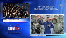 In this screenshot image, Col. Andrew Morgan administers the Oath of Enlistment to future Soldiers during the first-ever nationwide ceremony of its kind from the International Space Station Feb. 26, 2020. U.S. Army Recruiting Command partnered with NASA and Space Center Houston to conduct the live broadcast event. (Photo Credit: U.S. Army)