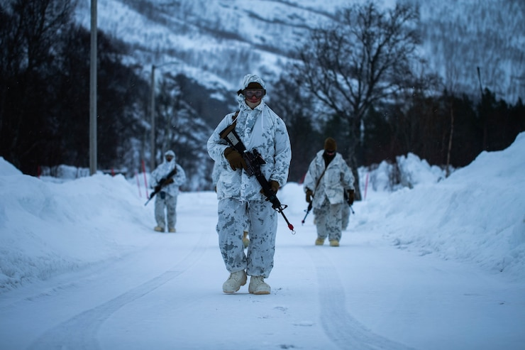 U.S. Marines with Charlie Company, 2nd Law Enforcement Battalion, II Marine Expeditionary Force Information Group, participate in a foot patrol during cold-weather training at Bjerkvik, Norway, Feb. 23, 2020. Marines are in Norway preparing for Exercise Cold Response, a Norwegian-led exercise designed to enhance military capabilities and allied cooperation in high-intensity warfighting in a challenging arctic environment. (U.S. Marine Corps photo by Cpl. Isaiah Campbell)