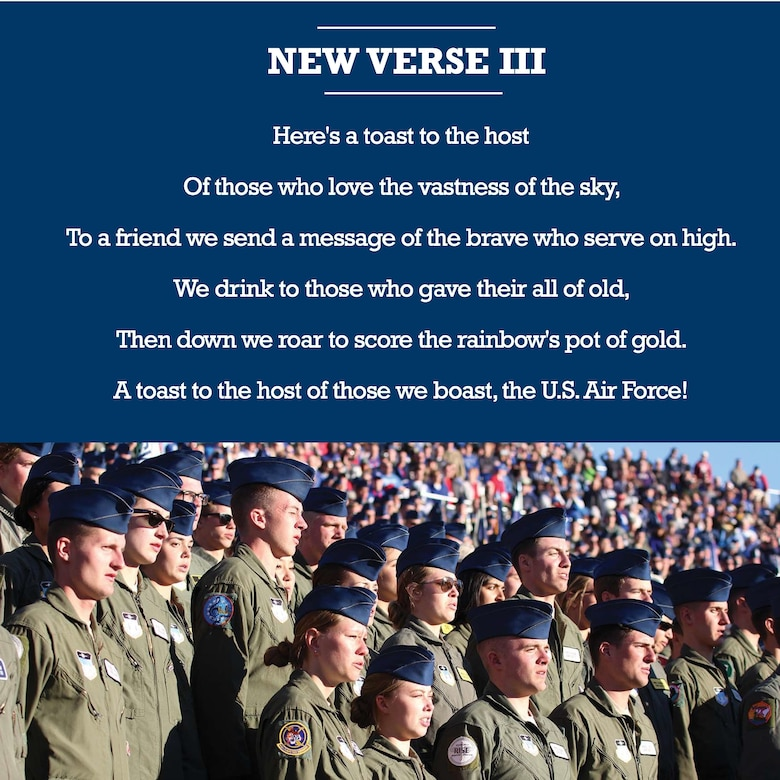 Gen. David Goldfein, chief of staff of the U.S. Air Force, shares his thoughts on changes made to the third verse of the U.S. Air Force song. (U.S. Air Force graphic)