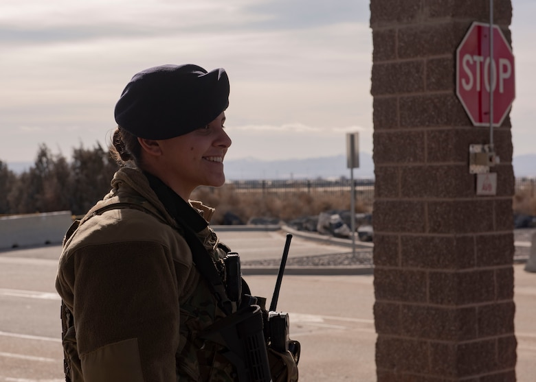 U.S. Air Force SrA Anna Hale, 366th Security Forces Squadron response force leader, stands at the main gate, Feb. 24, 2019 on Mountain Home Air Force Base, Idaho. MHAFB is the first base in the Air Combat Command to issue female plate carriers.(U.S. Air Force photo by Airman Natalie Rubenak)