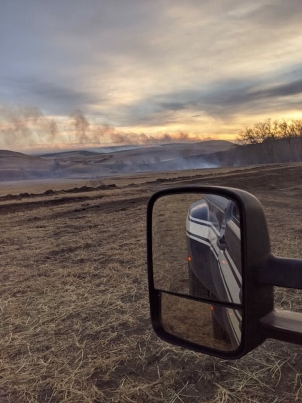 The fire department was dispatched at the request of the Montana Department of Natural Resources and Conservation with a volunteer fire department to support a fast-moving grass fire north of Geyser, Montana, Feb. 1, 2020.