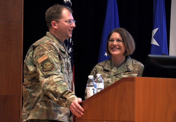 U.S. Air Force Col. Parker Wright, National Air and Space Intelligence Center commander, introduces Lt. Gen. Mary F. O'Brien, Deputy Chief of Staff for Intelligence, Surveillance, Reconnaissance and Cyber Effects Operations, to the members of NASIC during a town hall on Wright-Patterson AFB, Ohio, 23 Jan. 2020. During her briefing, General O'Brien spoke on topics such as the projected avenues of improvement for the intelligence community, the formation of the United States Space Force and the importance of strong diverse teams. (U.S. Air Force photo Staff Sgt. Seth Ray Stang)