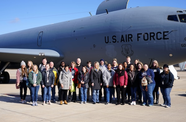 The Air Force Life Cycle Management Center logistics community and interns from the Premier College Intern Program and PALACE Acquire Logistics Trainee Program, learn about the 507th Air Refueling Wing's mission during an orientation flight Feb. 25, 2020, at Tinker Air Force Base, Oklahoma. (U.S. Air Force photo by Senior Airman Mary Begy)