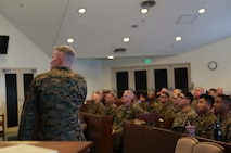 U.S. Marine Corps Brig. Gen. William J. Bowers, commanding general of Marine Corps Installations Pacific, speaks to Marines during a professional military education training at Camp Courtney, Okinawa, Japan, Feb. 24, 2020. Bowers covered the Battle of Guadalcanal and its relevance to operations today. (U.S. Marine Corps photo by Lance Cpl. Francesca Landis)