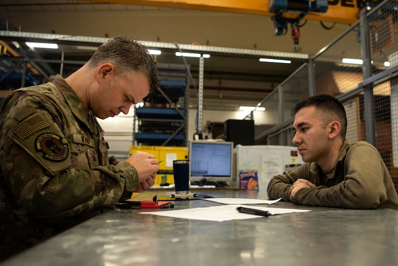 U.S. Air Force Master Sgt. Charles Wahl, 52nd Maintenance Squadron support section chief, left, and Senior Airman Ryan Cruz, 52nd MXS aerospace propulsion journeyman, right, inspect equipment prior to it being issued from the support section at Spangdahlem Air Base, Germany, Feb. 25, 2020. The 52nd MXS Propulsion Flight support section provides parts for jet engine buildup and repair. (U.S. Air Force photo by Airman 1st Class Valerie Seelye)