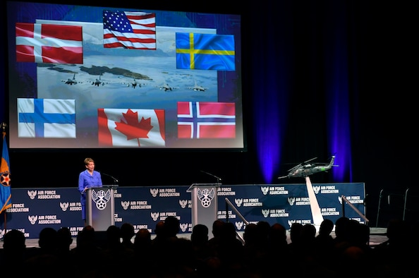 Secretary of the Air Force Barbara Barrett delivers remarks during the Air Force Association's Air Warfare Symposium in Orlando, Fla., Feb. 27, 2020. The three-day event is a professional development forum that offers the opportunity for Department of Defense personnel to participate in forums, speeches, seminars and workshops with defense industry professionals. (U.S. Air Force photo by Wayne Clark)