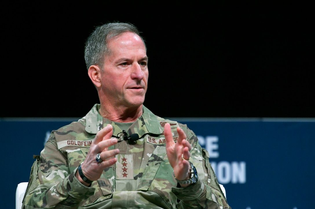 Air Force Chief of Staff Gen. David L. Goldfein participate in a sit down discussion during the Air Force Association's Air Warfare Symposium, in Orlando, Fla., Feb. 27, 2020. The three-day event is a professional development forum that offers the opportunity for Department of Defense personnel to participate in forums, speeches, seminars and workshops with defense industry professionals. (U.S. Air Force photo by Wayne Clark)