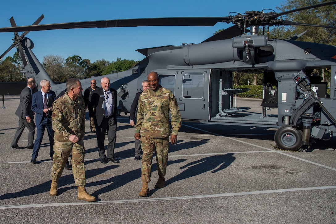 CSAF and CMSAF after touring the new HH-60W combat rescue helicopter