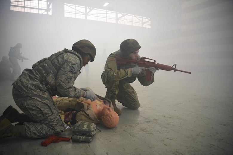 Airmen during the Tactical Combat Casualty Care Course