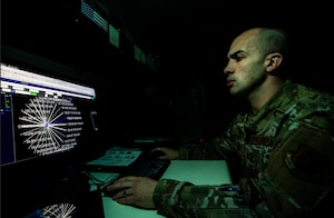 Master Sgt. Blaze West, 911th Communications Squadron mission defense team crew lead, uses the Cyber Vulnerability Assessement/Hunter to view sensor data at the Pittsburgh International Airport Air Reserve Station, Pennsylvania, Feb. 4, 2020.