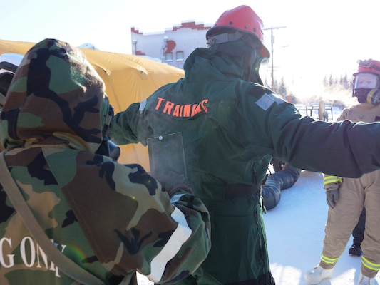 Service members conduct decontamination during the joint force exercise Arctic Eagle 2020 in Alaska. The Indiana National Guard is participating, alongside numerous civilian and federal agencies with approximately 900 other Air and Army National Guard members from 15 states Feb. 20 to March. 7.