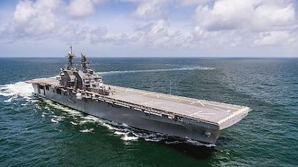 USS Tripoli (LHA 7) transits the Gulf of Mexico