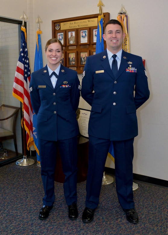 Two airmen wait for commissioning board interview
