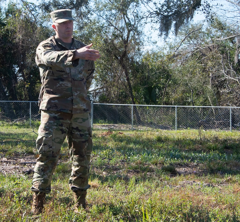Maj. Gavin Brost, 325th Civil Engineer Squadron operations flight commander, speaks to the media during a press event at Tyndall Air Force Base, Florida, Feb. 28, 2020.  The efforts Team Tyndall made to repair the damage caused to cemeteries on base after Hurricane Michael was discussed. (U.S. Air Force photo by 2nd Lt. Kayla Fitzgerald)
