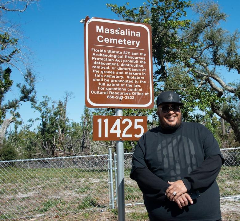 Lynva Narcissco Masslieno Jr., descendant of the Massalina family, poses for a photo during a press event at Massalina Cemetery at Tyndall Air Force Base, Fla, Feb. 28, 2020. Masslieno's great grandmother is buried in the cemetery. (U.S. Air Force photo by 2nd Lt. Kayla Fitzgerald)
