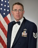 Official photo of TSgt. Jesse Thompson, guitarist with Wild Blue Country, one of nine ensembles in the United States Air Force Academy Band, Peterson Air Force Base, Colorado.