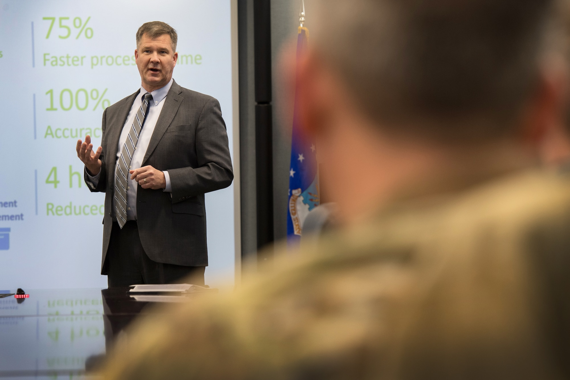 William Ross, Communications and Information Division (SC) director, briefs Col. Chad Ellsworth, 66th Air Base Group commander, on the potential use of robotic process automation during an RPA demonstration at Hanscom Air Force Base, Mass., Feb. 21. By collaborating with UiPath, a global software company that develops a platform for robotic process automation, the division will be able to increase productivity, accuracy, and overall mission success through the help of bots. (U.S. Air Force photo by Jerry Saslav)