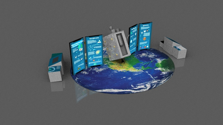 "An overhead illustration of the layout of the GPS Exhibit.  It is an image of a ""mock"" satellite on top of a large picture of the earth."